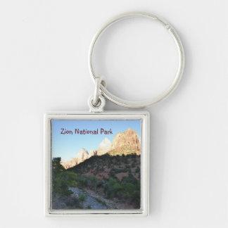 Zion nationalpark Keychain Fyrkantig Silverfärgad Nyckelring