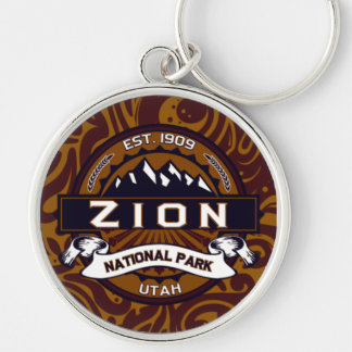 Zion nationalpark utsmyckade Keychain Rund Silverfärgad Nyckelring
