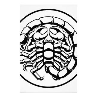 Zodiac för ScorpioScorpionhoroskopet undertecknar Brevpapper