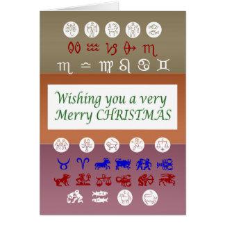 Zodiacastrologisymbol: God juljulafton Hälsningskort