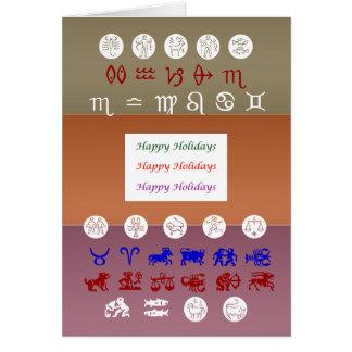 Zodiacastrologisymbol: HappyHolidays helgdagar Hälsningskort