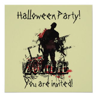 Zombie Halloween Fyrkantigt 13,3 Cm Inbjudningskort