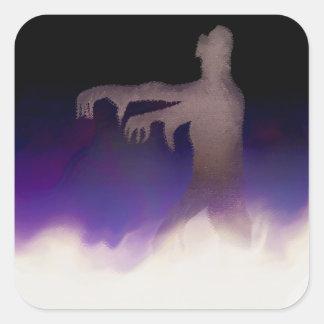 Zombie i misten fyrkantigt klistermärke
