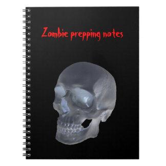 Zombie som förbereder anteckningsboken för anteckningsbok