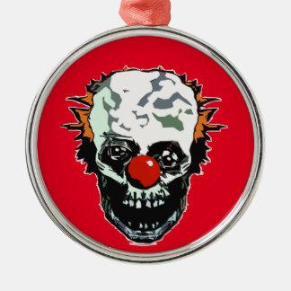 Zombieclown Rund Silverfärgad Julgransprydnad