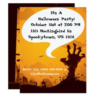 Zombiehalloween fest 10,8 x 14 cm inbjudningskort