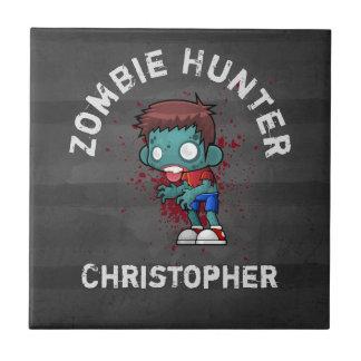 Zombiejägare med kuslig coola för blodSplatter Liten Kakelplatta