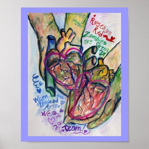 Zombiekärlekdikt som målar konsttryckaffischer affisch
