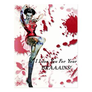 Zombien klämmer fast upp vykort