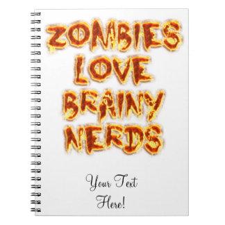Zombies älskar klyftiga Nerds Anteckningsbok Med Spiral