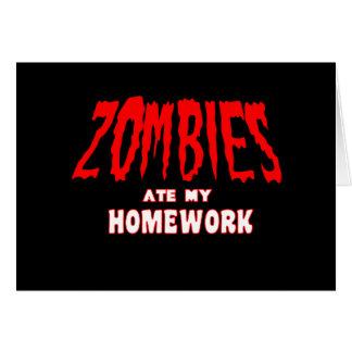 Zombies åt min läxa hälsningskort