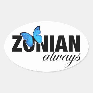 Zonian alltid med fjärilen ovalt klistermärke