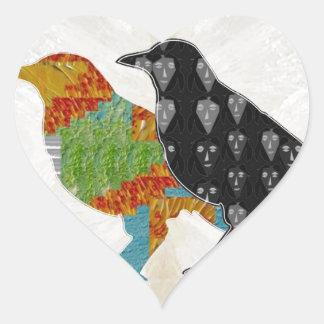 Zoo för vild för fågel för ungekärlekkråka hjärtformat klistermärke