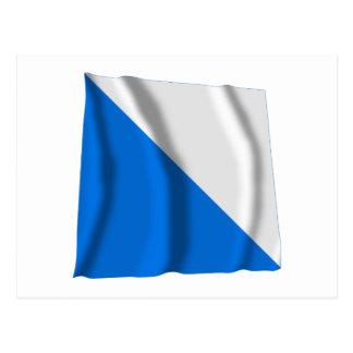 Zuerich som vinkar flagga vykort