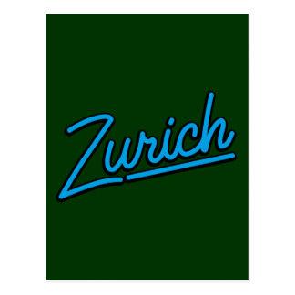 Zurich i cyan vykort