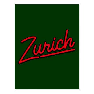 Zurich i rött vykort