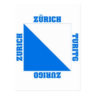 Zurich Schweitz Cantonflagga Vykort
