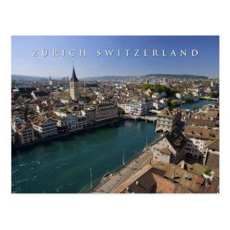 zurich switzerland cityscape vykort